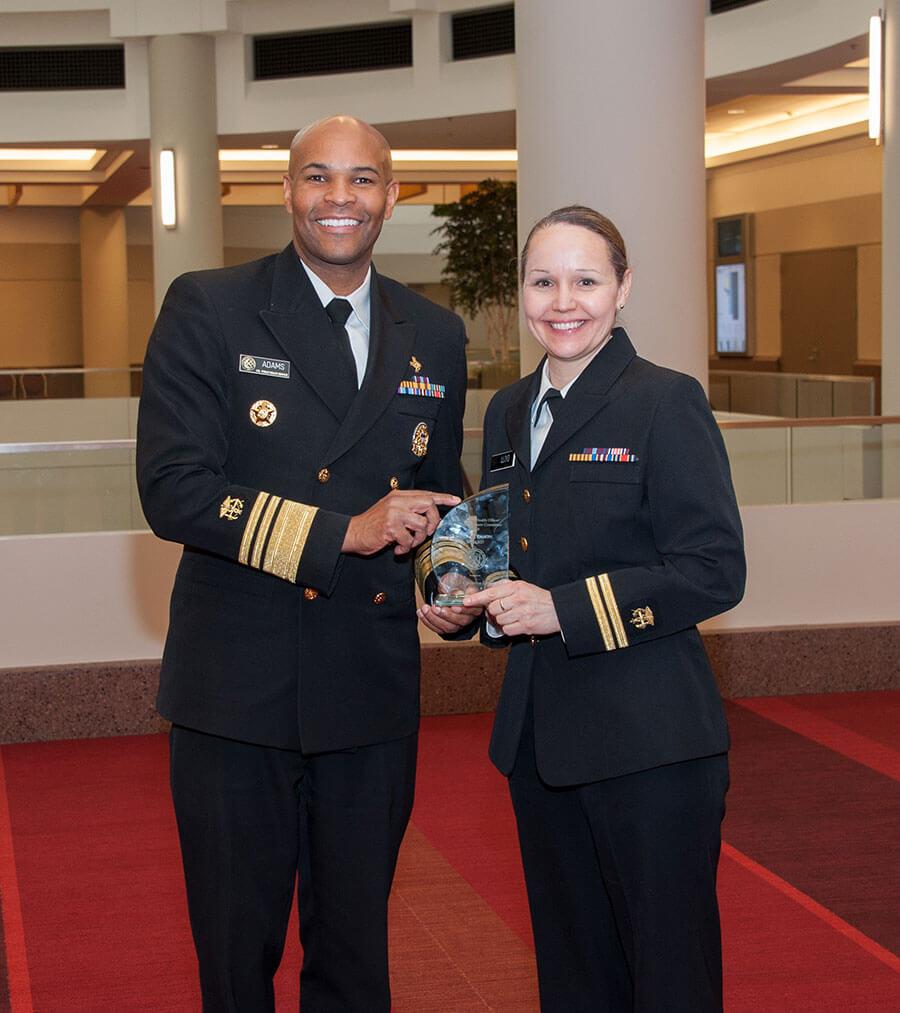 service member receiving an award